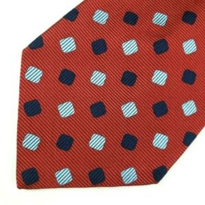 Faconnable Men's Tie Red Navy Blue & Gray